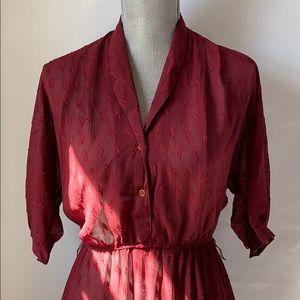 Vtg Paris NY 80s sheer flowy midi dress burgundy